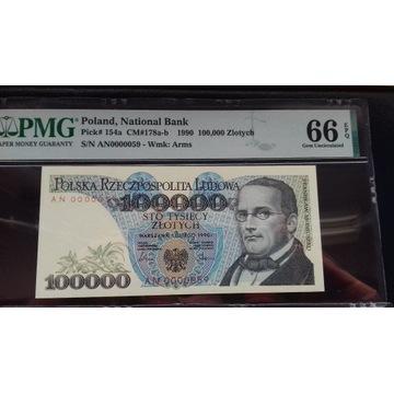 100000 ZŁOTYCH 1990 PMG 66 AN 0000059