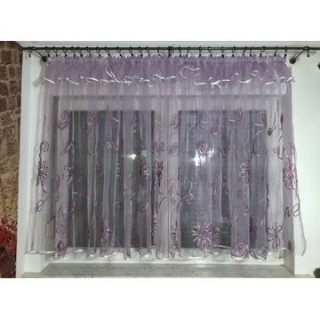 Firana gotowa fioletowa gotowa na smoku wys 125 cm