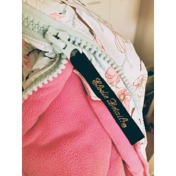 Śpiwór zimowy miętowy kwiaty różowyElodie details