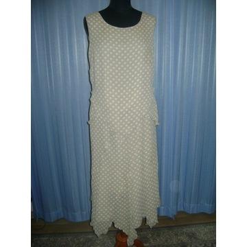 Komplet spódnica i bluzka beżowa w kropki 42/44