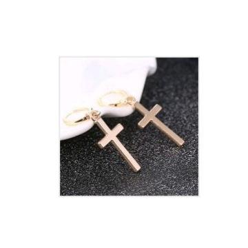 Złote kolczyki krzyżyki krzyż