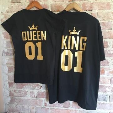 Zestaw koszulek dla pary King Queen z koroną