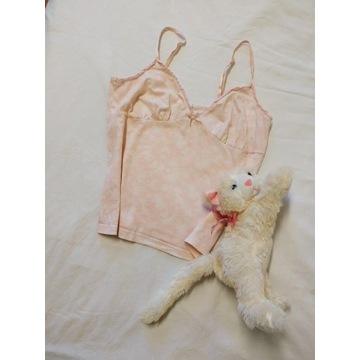 Vintage różowy top milkmaid wzory S M koronka