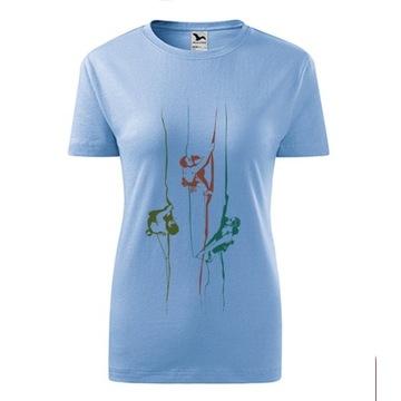 Koszulka damska z motywem wspinaczkowym S/M błękit