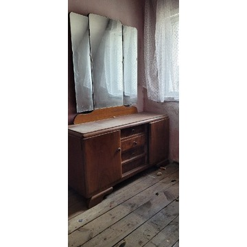 Toaletka z lustrem i stolik nocny PRL