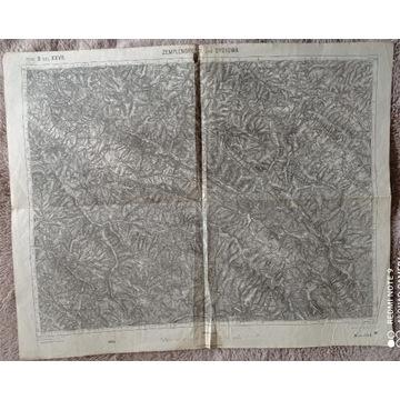 Mapa z 1914 r :Dydiowa,Ustrzyki,Wetlina (1: 75000)