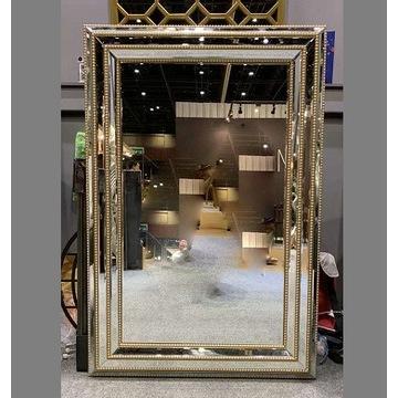 Złote lustro duże 120x80 prostokątne glamour loft