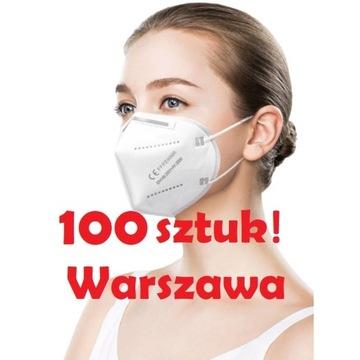 Maska FFP2 Maseczka KN95 CE maseczki WAW 100 sztuk