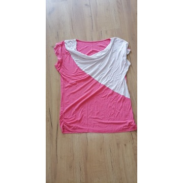 bluzka damska biało różowa noszona używana fetysz