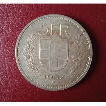 SZWAJCARIA 5 franków 1967 SREBRO 15 g 0,835