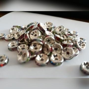 przekładki koraliki kolorowe srebrne 100szt biżu