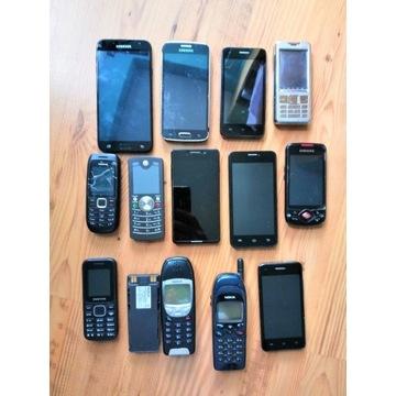 13 telefonów - częściowo działające, uszkodzone
