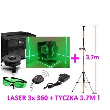 Poziomica laser krzyżowy 12 linii 360 3D+ TYCZKA