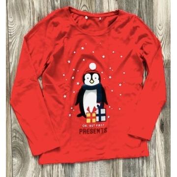 Czerwona bluzka świąteczna z pingwinem S