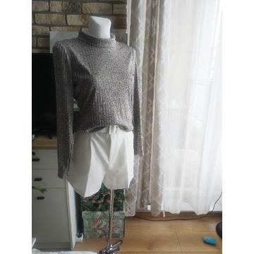 Piękny błyszczący sweter sweterek golf stójka S M