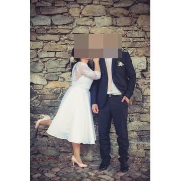 suknia ślubna krótka cywilny koronka