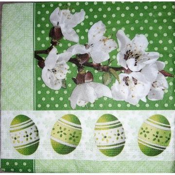 Serwetka decoupage 2 szt, pisanki, wiosna