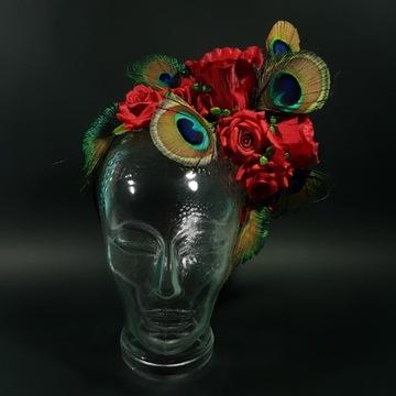 Stroik do włosów, opaska fascynator pióra róże