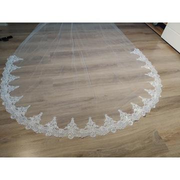 Nowy welon ślubny biały obszyty koronką 3m