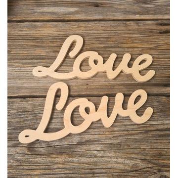 Napis LOVE do decoupage z drewna