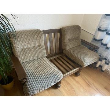 Meble z dębowego drewna-Kanapa + 2 fotele. Okazja!