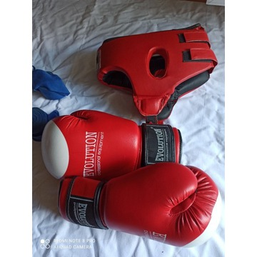 Rękawice bokserskie, ochraniacz na głowę.