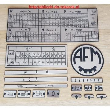 Tokarka TUE 40 Tabliczka Tabliczki Tabela Gwintów