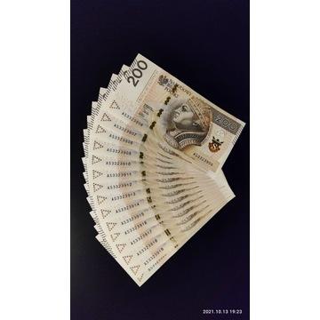 Unikatowe banknoty 200 zł 15 kolejnych numerów AS