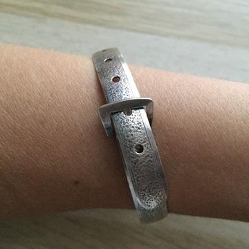 Stara bransoletka srebrna w formie paska - UNIKAT