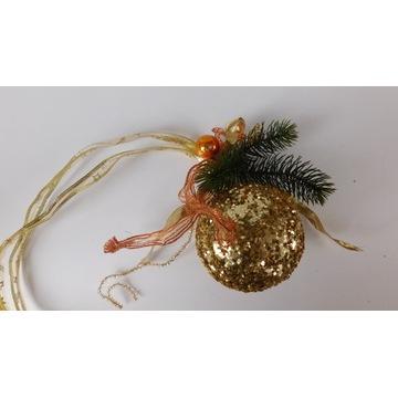 Bombka złota kula wisząca 15 cm wstążka 75cm