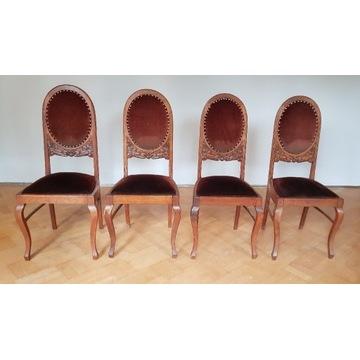 Zestaw krzeseł drewnianych, antyki, 4 szt.