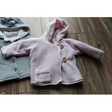 Sweter Bluza ocieplana dzianinowa różowa 80/86