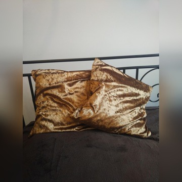 Poszewka na poduszke 50x50 - welur złoty beżowy