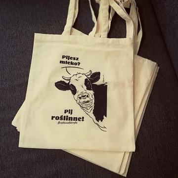 Lniana torba na zakupy z krową, Zero Waste, Eko