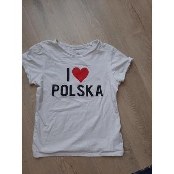 Biała bluzka I LOVE POLSKA 134/140