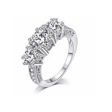 Nowy pierścionek srebrny kolor cyrkonie białe eleg