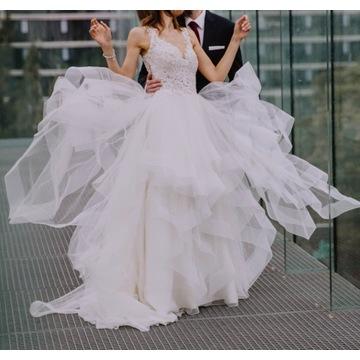 Suknia ślubna z trenem - Sposabella - roz.36
