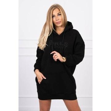 Bluza oversize z haftem kolor czarny