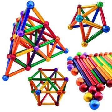 Kolorowe klocki magnetyczne pałeczki + kulki 126el