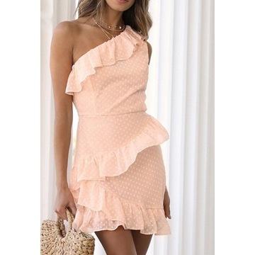 Sukienka Kropki Brzoskwinia jedno ramię rozm. M