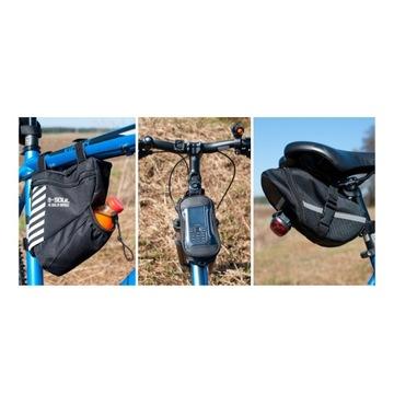Trzy torby rowerowe: na ramę + etui + pod siodło