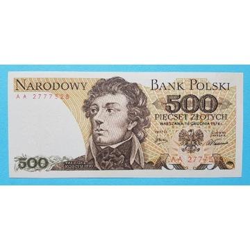 500 złotych 1974 rok Seria AA Stan UNC