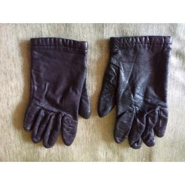 Rękawiczki damskie - czarne - skóra - roz. 23