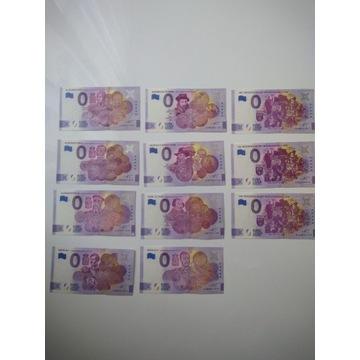 Kolekcja 11 banknotów 0 Euro