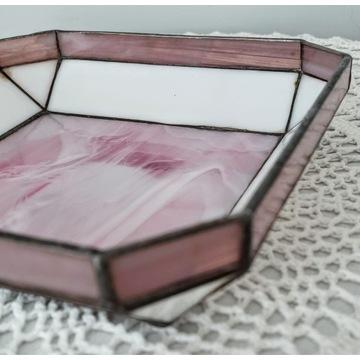 Pojemnik patera witrażowa szkło barwione Art-Deco
