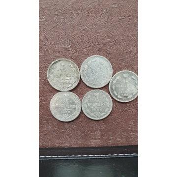 15 kopiejek carską Rosja 5 szt.srebro