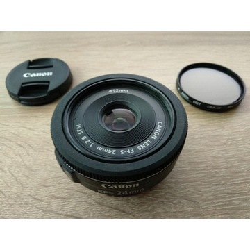 Obiektyw CANON EF-S 24mm f/2.8 STM, filtr Hoya