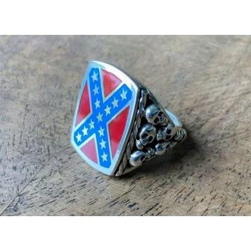 Sygnet konfederacji flaga konfederatów srebro 925