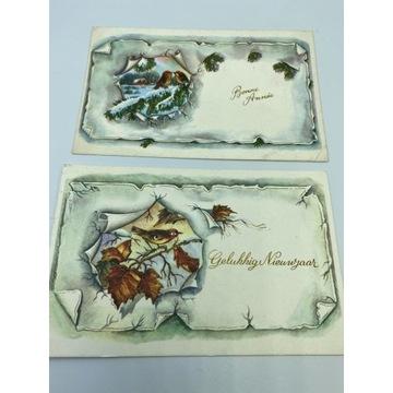 Zestaw dwóch pocztówek świątecznych