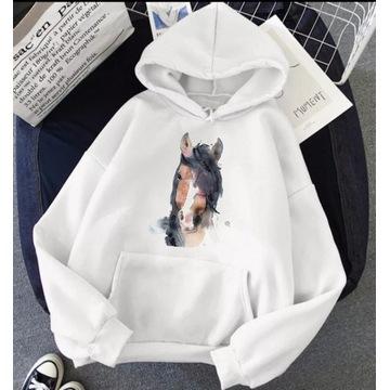 Bluza biała z kapturem koń konie S-XXL Różne wzory